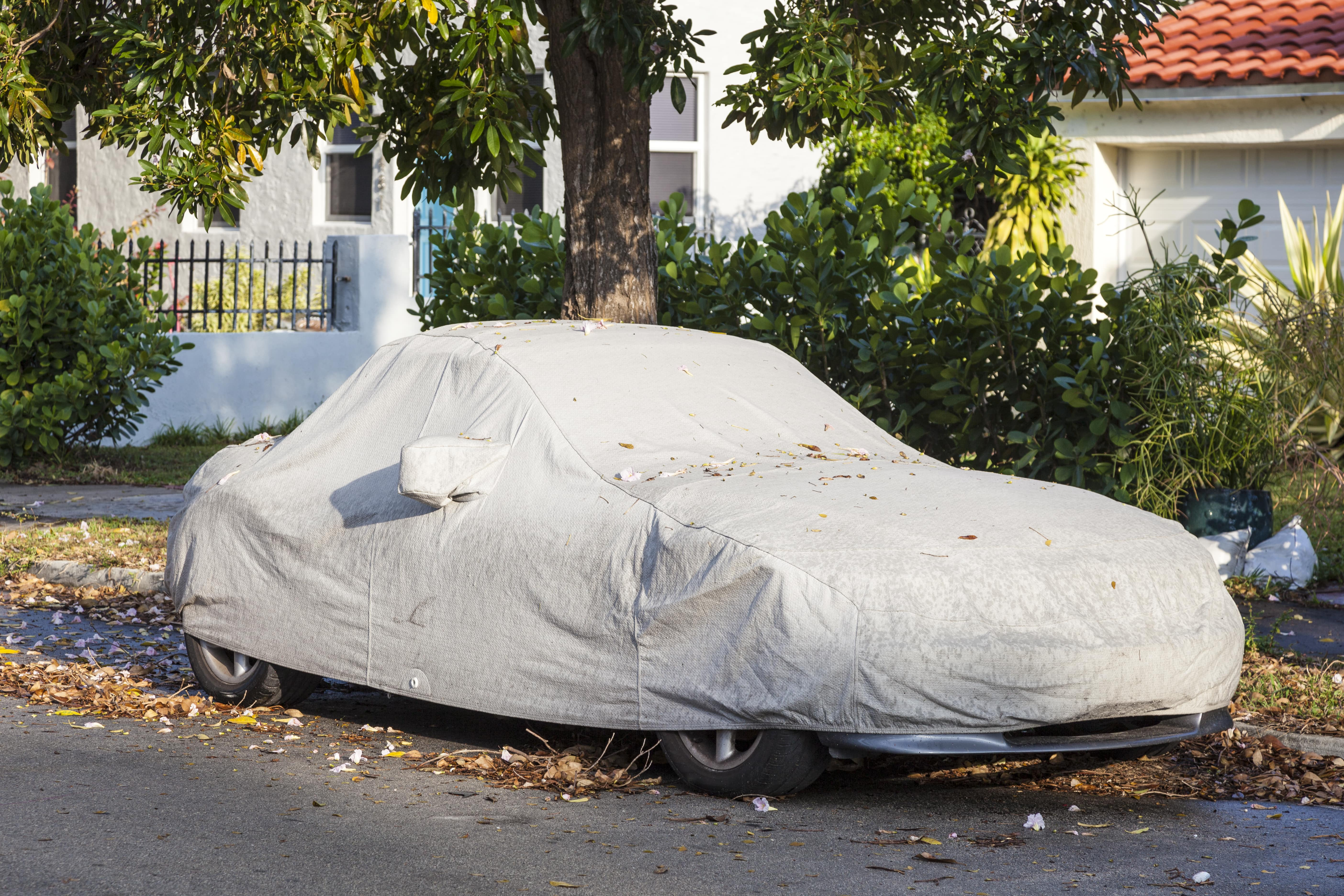 car-under-protective-cover-parked-on